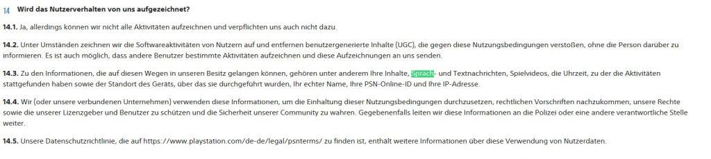 PS4 Nutzerbedingungen Sprach-Aufnahmen
