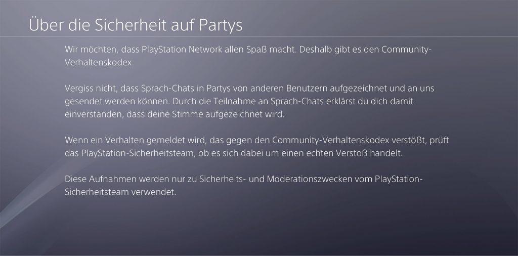 PS4 Sony Party Chat Aufnahmen Sicherheit