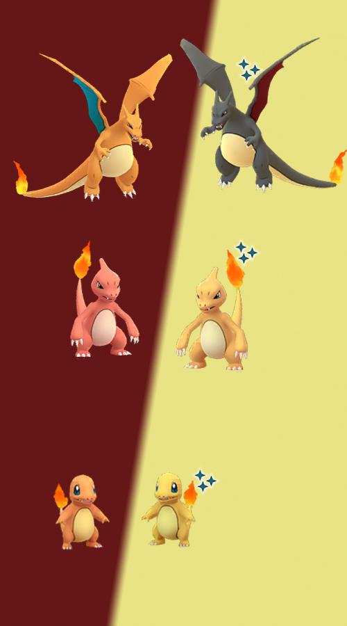 Pokémon GO Shiny Glumanda Familie