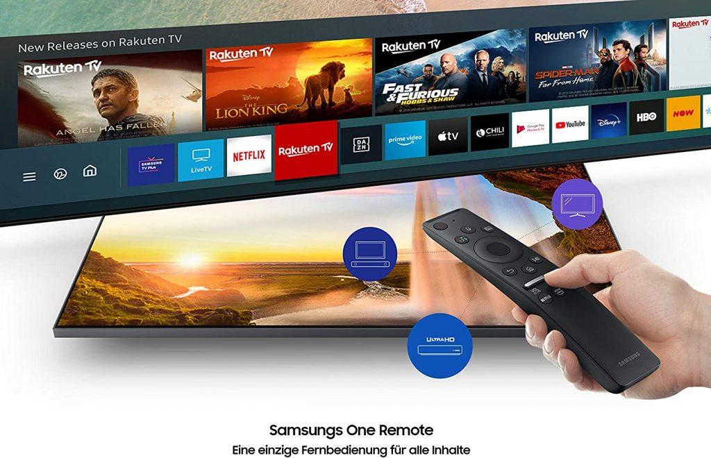 Samsung GU43TU8079 UHD-TV mit Fernbedienung und Menüausschnit