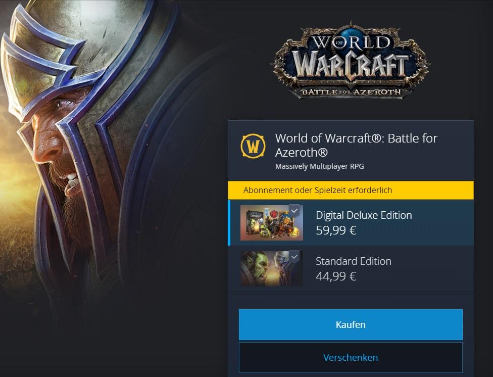 WoW Battle for Azeroth Shop Bild
