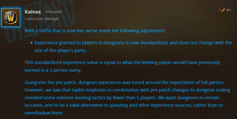 WoW Hotfix Dungeon XP