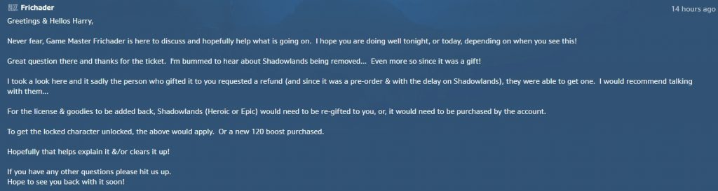 WoW Shadowlands GM Response