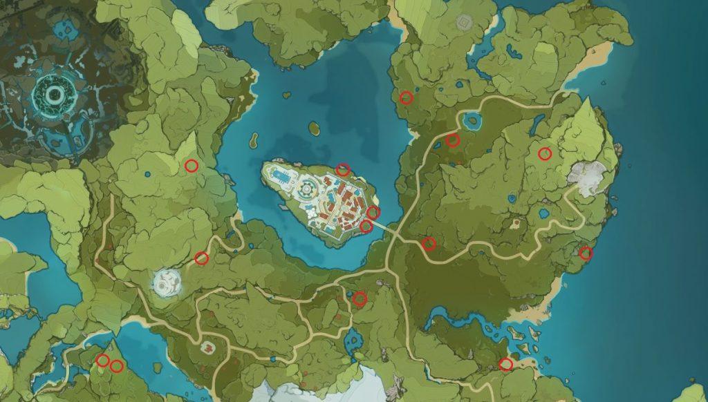 Löwenzahnsamen Genshin Impact Karte Map