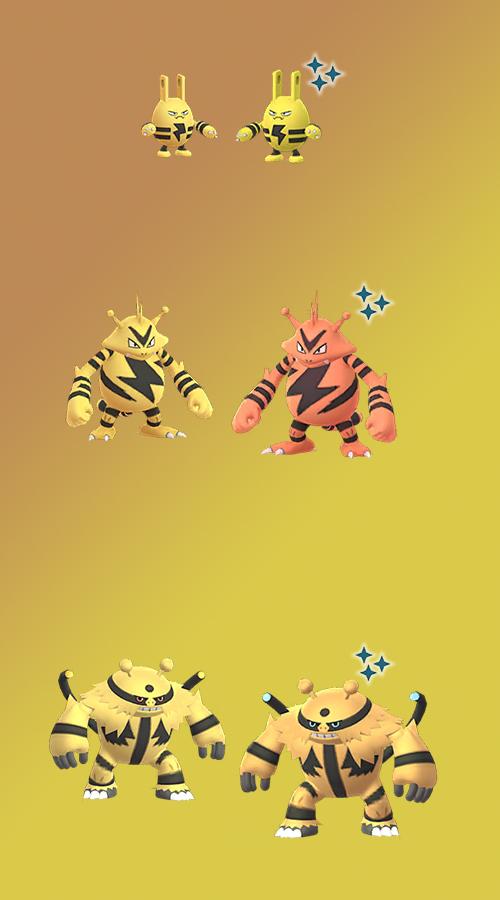 Pokémon GO Elektek Shiny Familie