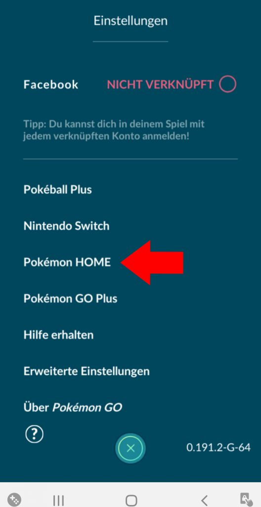 Pokémon GO Home In Einstellungen