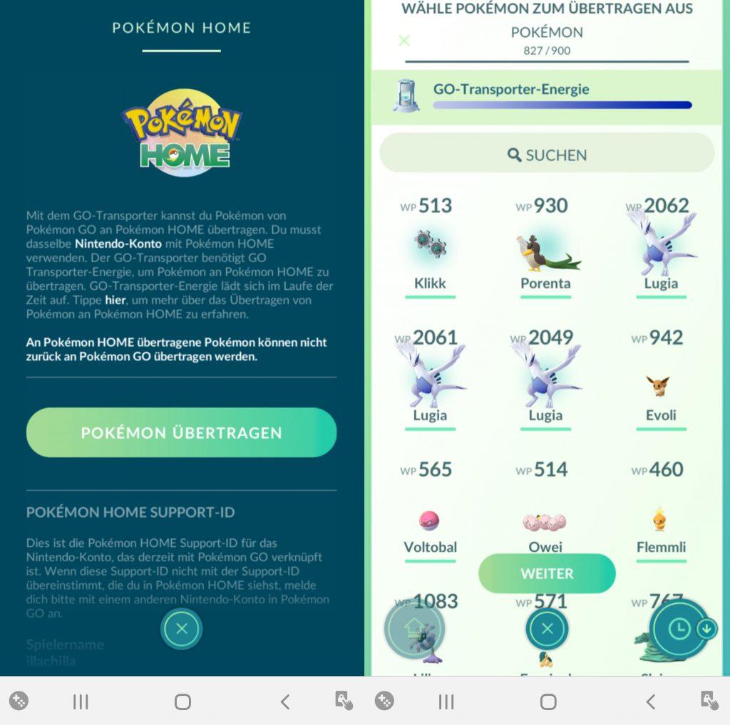 Pokémon GO Home Pokémon Übertragen