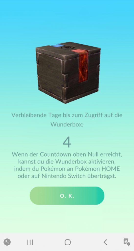 Pokémon GO Wunderbox Countdown