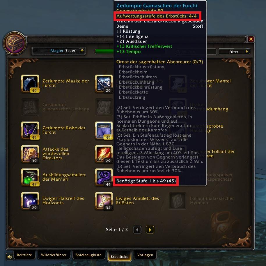 WoW Erbstücke in Sammlung Screenshot neu 2