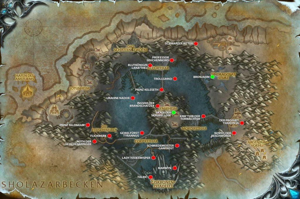 WoW Shadowlands Pre Event alle Bosse auf Karte vanion