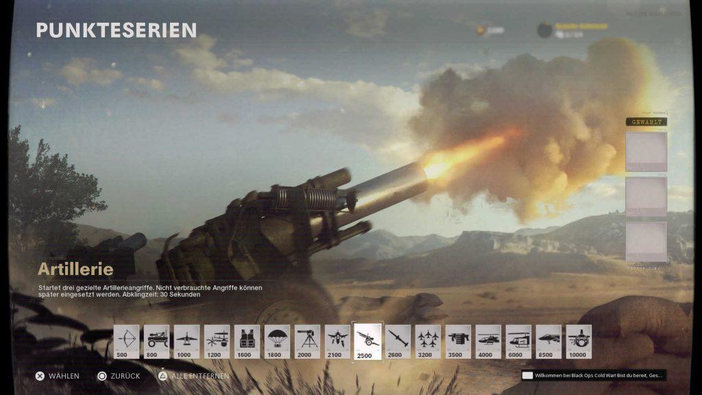 cod cold war scorestreak artillerie