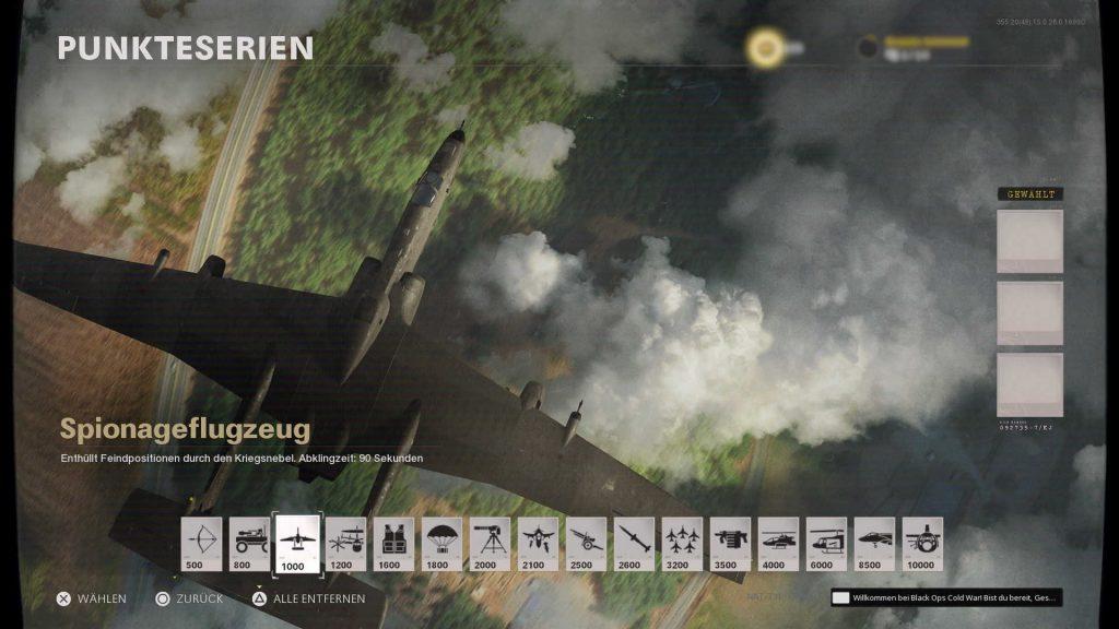 cod cold war scorestreak spionageflugzeug groß