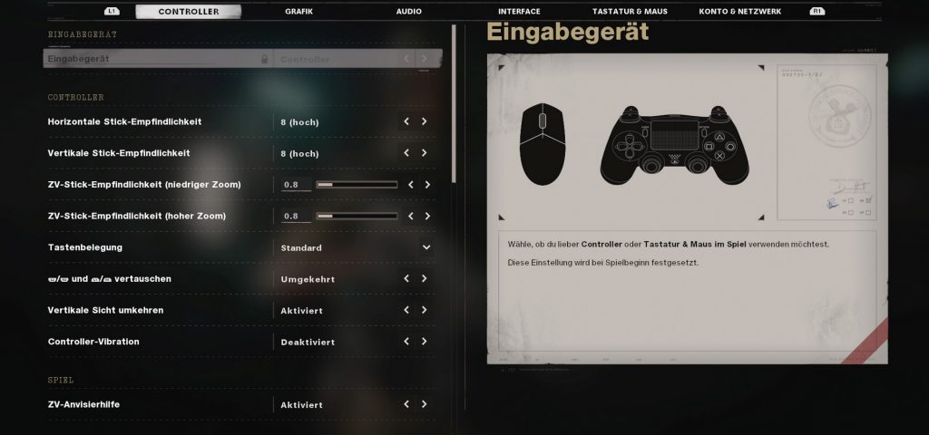 cod cold war settings controller oder maus & tastatur