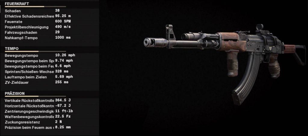 cod cold war waffen ak-47 setup mit werten