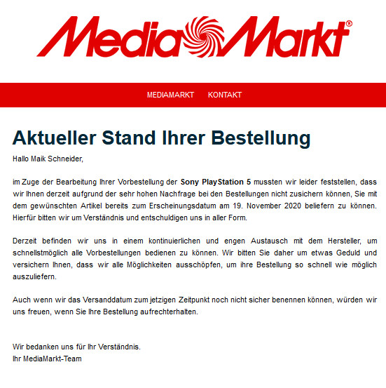 media markt ps5 mail maik