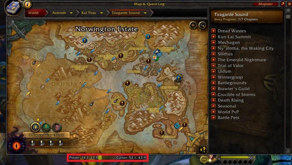 wow Mapster Karte und Koordinaten