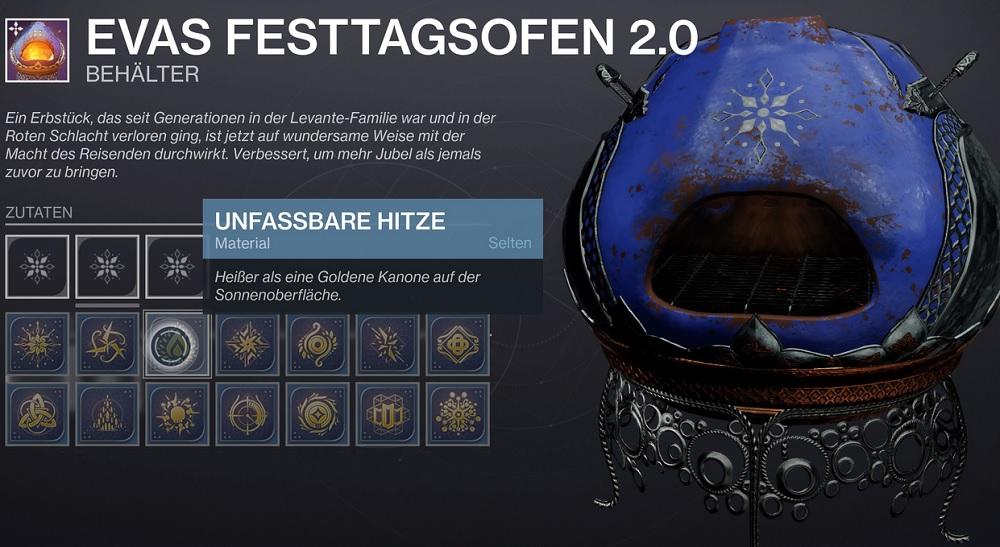 Destiny 2 Ofen Festtagsofen Anbruch backen