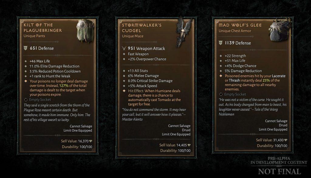 Diablo 4 einzigartige Gegenstände