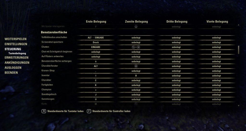 ESO Tastenbelegung Benutzeroberfläche