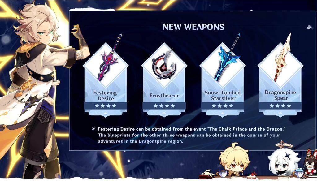 Genshin Imapct 1.2 neue Waffen