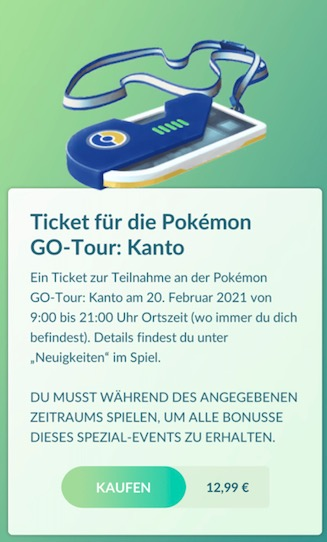 Pokemon Go Ticket tour
