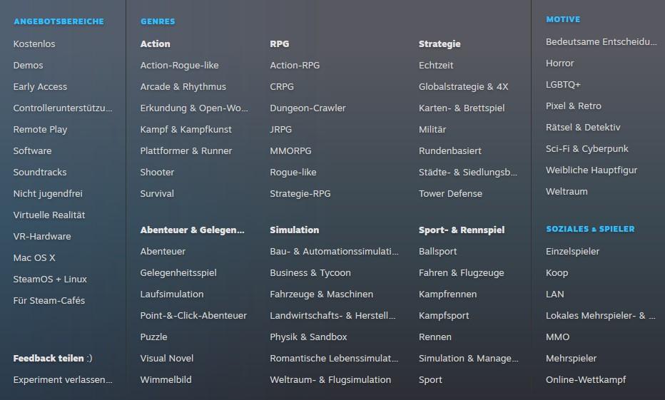 Steam neue Kategorien