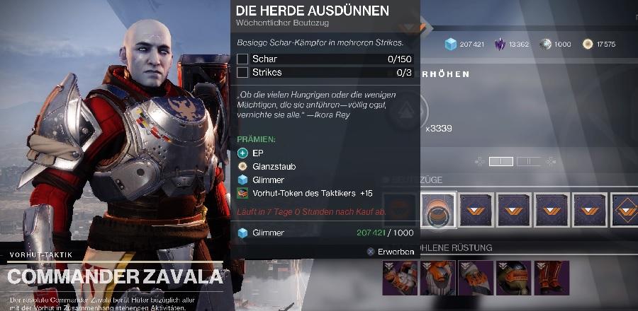 Zavala Beutezüge Destiny 2