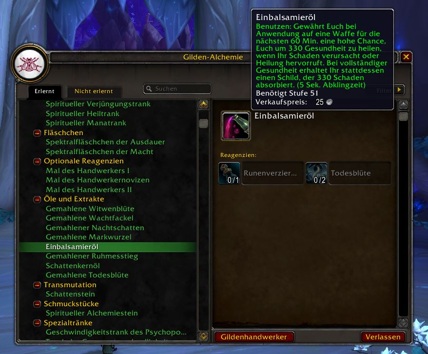 wow shadowlands crafting öl