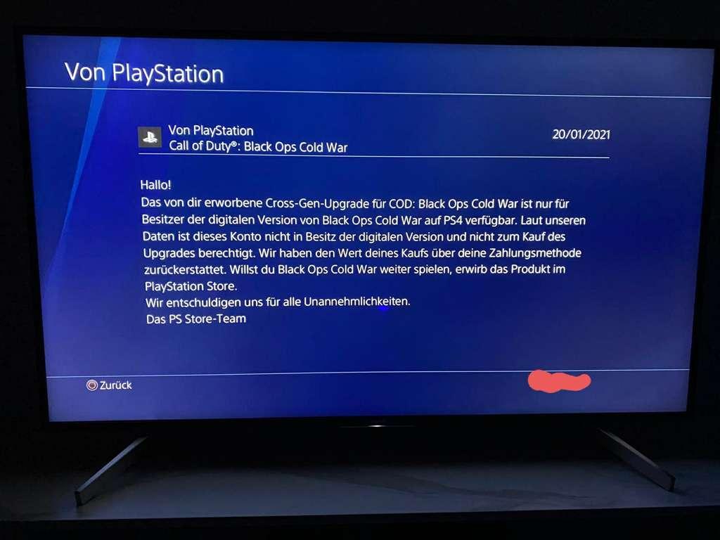 CoD Cold War Fehlermeldung Sony 5 Euro