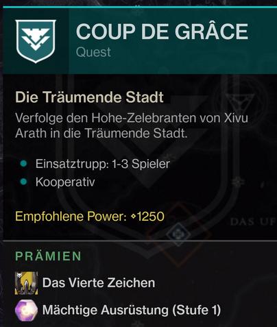 Coup de Grace Loot Mission Jagd Destiny 2