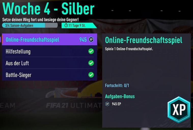 FIFA 21 Woche 4 Silber Online Freundschaftsspiel geht nicht