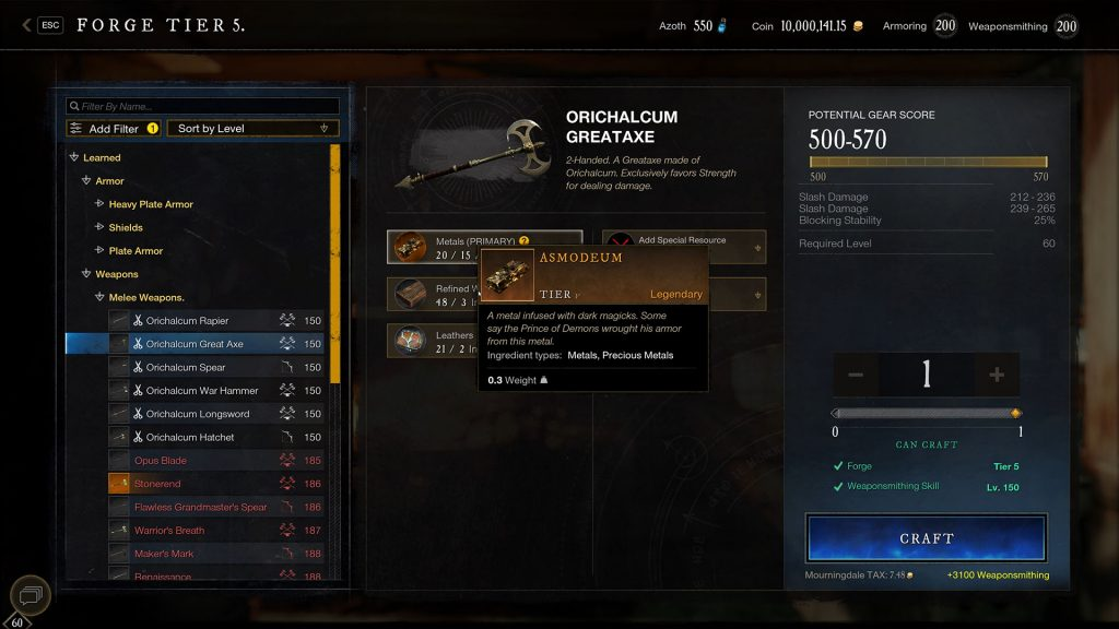 New World neue Waffen Crafting