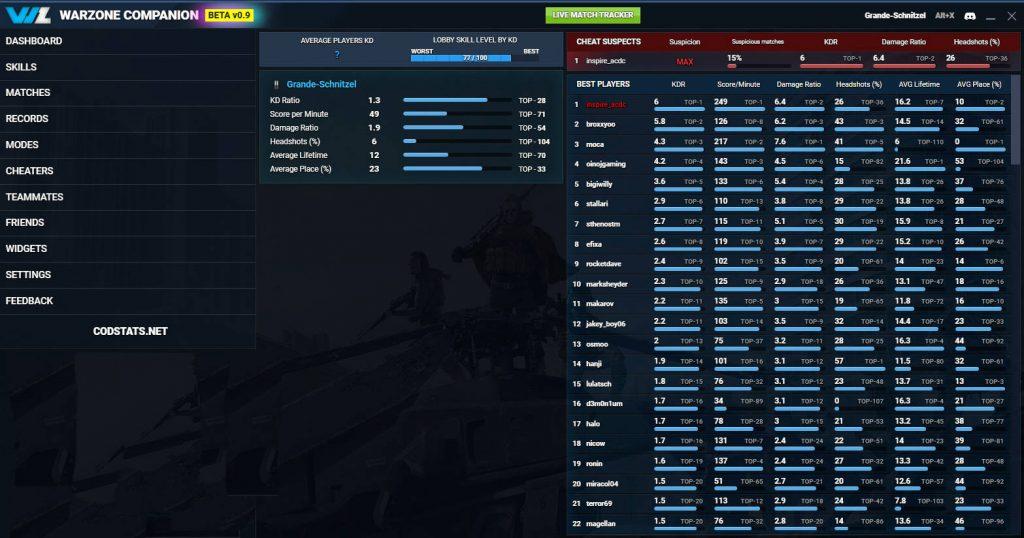 cod warzone companion lobby live tracker