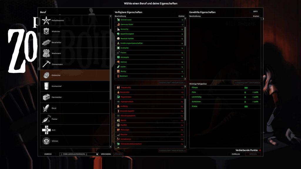 project zomboid fähigkeitenauswahl zum start