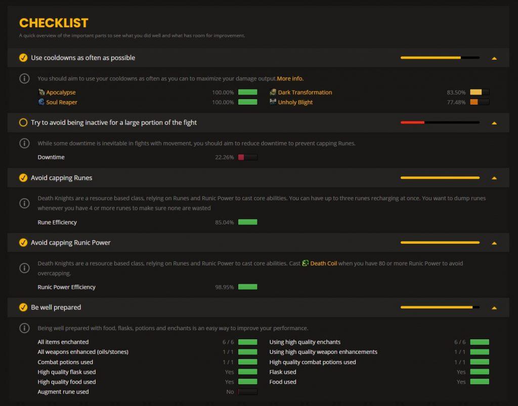 wow analyzer checklist dk