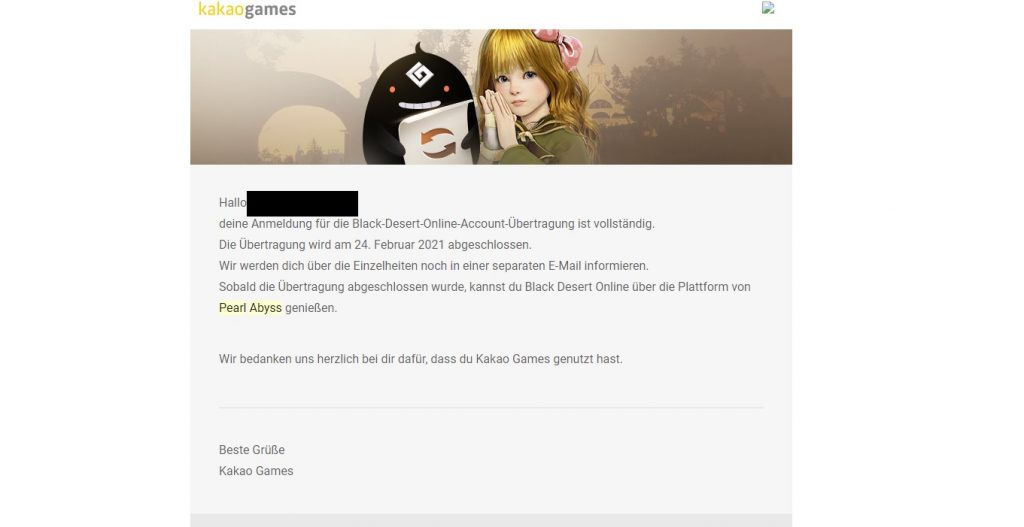 Black Desert Account übertragen