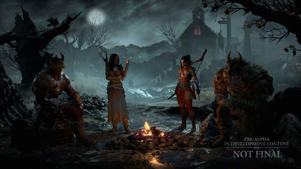 Diablo 4 Lagerfeuer mit Jägerin