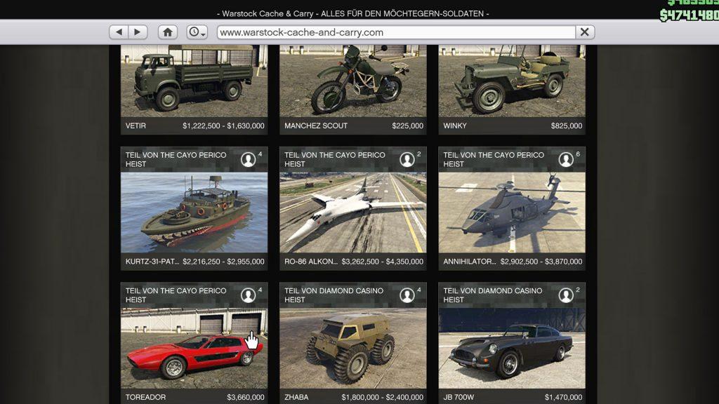 GTA Online Cayo Perico DLC Inhalte Warstock