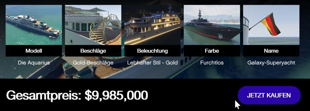 GTA Online Yacht teuer Preise Übersicht