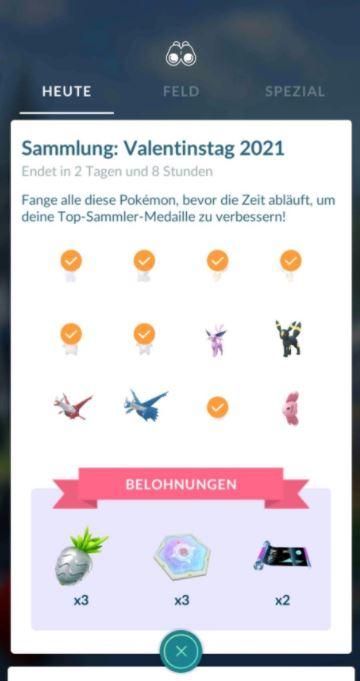 Sammler Herausforderung Valentinstag Pokemon GO