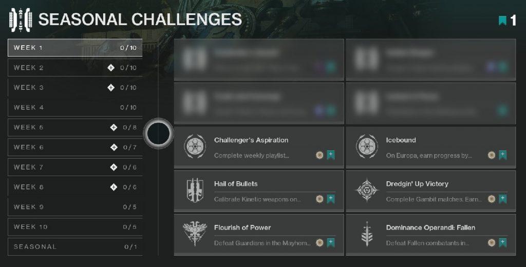 Seasonal Challenges Herausforderungen Destiny 2
