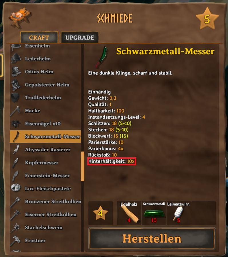 Valheim Schwarzmetallmesser Schmiede