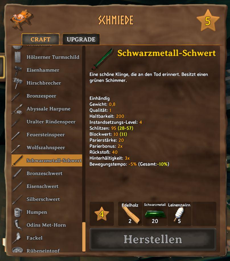 Valheim Schwarzmetallschwert Schmiede