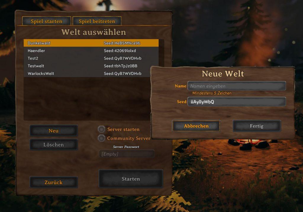 Valheim Seed neue Welt erstellen