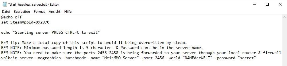 """So sieht die ausgefällte """"start_headless_server.bat"""" des Valheim Servers aus."""