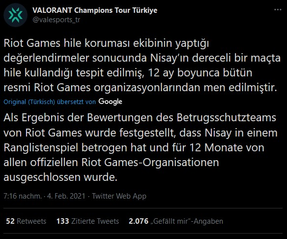 Valorant Türkei Bann Nisay