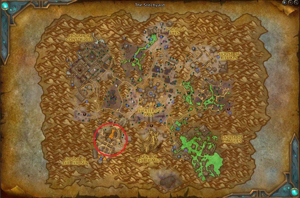 WoW Maldraxxus Spinne an der Mauer Map