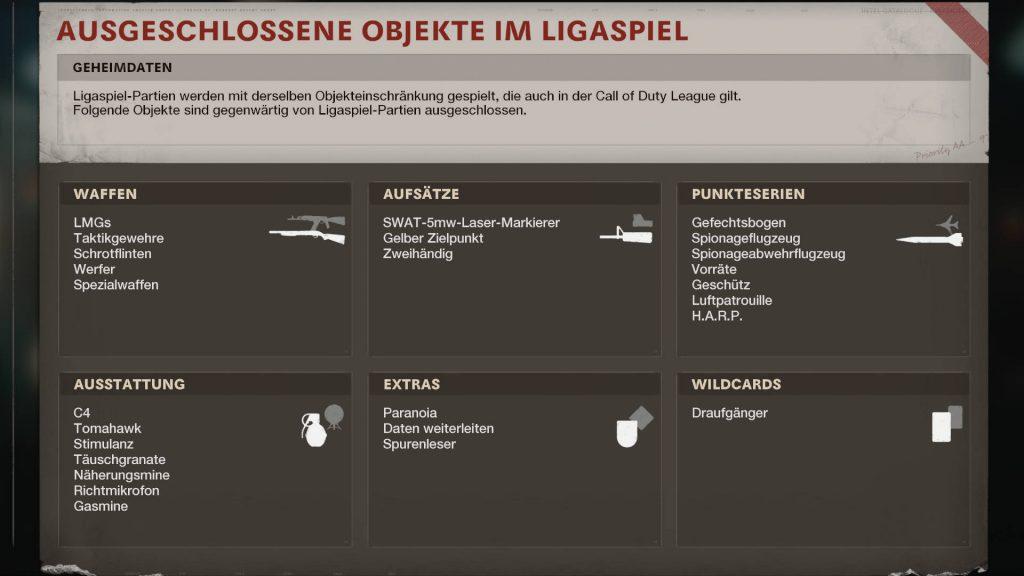 cod cold war ligaspiel modus regeln ausgeschlossene Ausrüstungen
