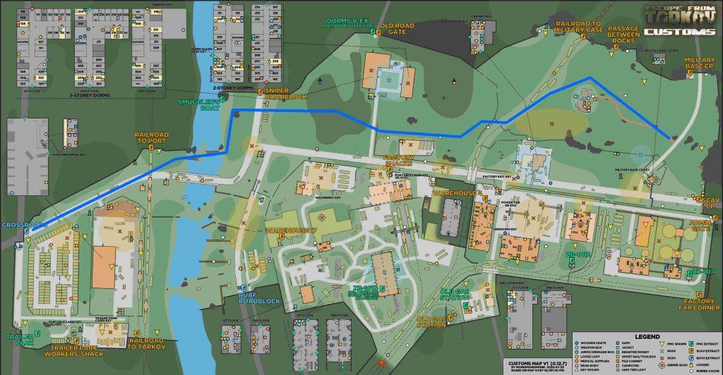 escape from tarkov maps zollgelände sichere route update