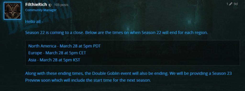 Diablo 3 Season 22 Ende Bluepost